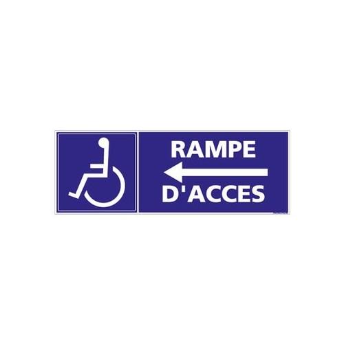 panneau rampe d'accès - flèche à gauche - alu
