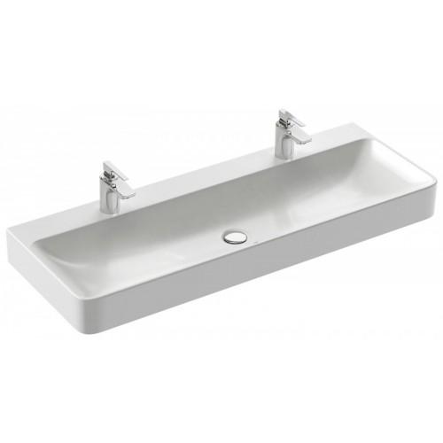 Vox - Vasque à poser 120 x 45 cm, avec trou de trop-plein, percé 2 trous de robinetterie