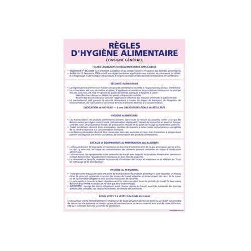 Panneau des RÈGLES D'HYGIÈNE ALIMENTAIRE - alu - 300 x 420 mm
