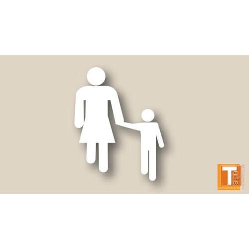Symbole blanc femme et enfant thermocollé - T SIGN