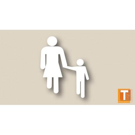 Symbole blanc femme et enfant - T-SIGN