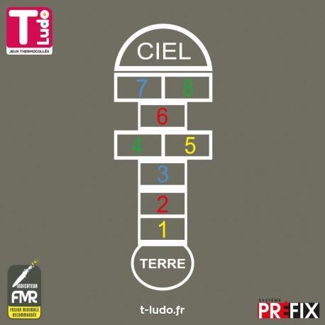Jeu au sol thermocollé - Marelle 8 cases de 5 couleurs - Jeu T-LUDO