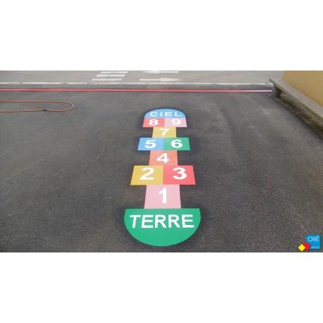 Jeu au sol thermocollé - Marelle 9 cases de 7 couleurs - Jeu T-LUDO