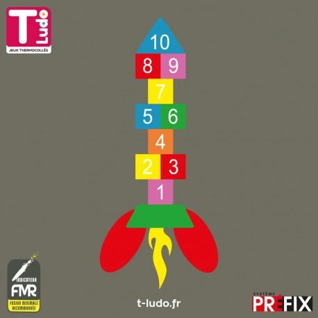 Jeu au sol thermocollé - Marelle fusée 10 cases, 7 couleurs - Jeu T-LUDO