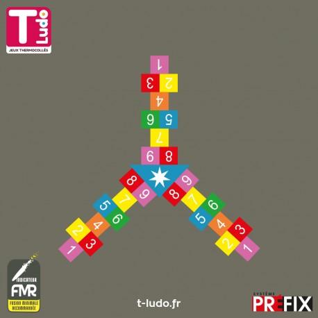 Jeu au sol thermocollé - Marelle triple 3 x 9 cases, 7 couleurs - Jeu T-LUDO