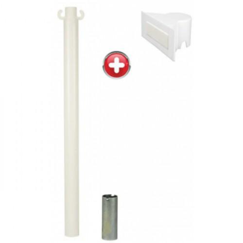 Poteau blanc acier 1100 ou 1300 cm avec support panneau - à sceller