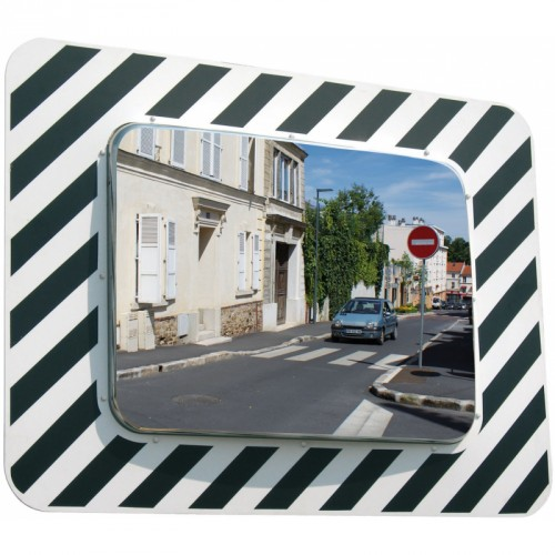Miroir rectangulaire 1300 x 200 x 970 mm routier incassable - Inox