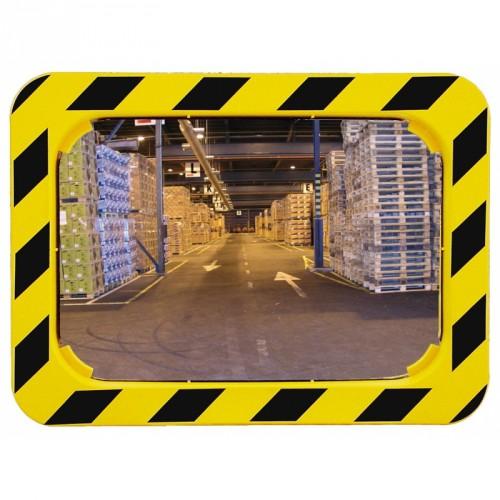 Miroir Polymir rectangulaire 990 x 130 x 1225 mm pour industries avec cadre jaune et noir