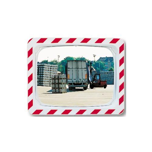 Qualité Polymir - Miroir rectangulaire industriel avec cadre rouge et blanc