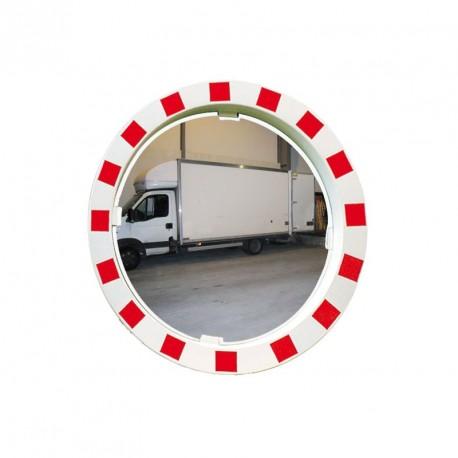 Qualité Polymir - Miroir rond industriel avec cadre rouge et blanc