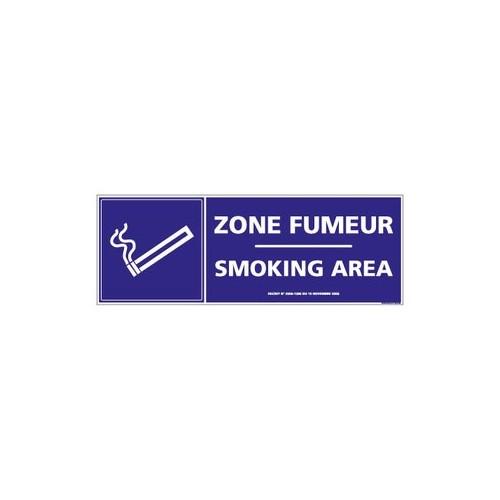 Panneau Zone fumeur / Smoking area alu 350 x 125 mm