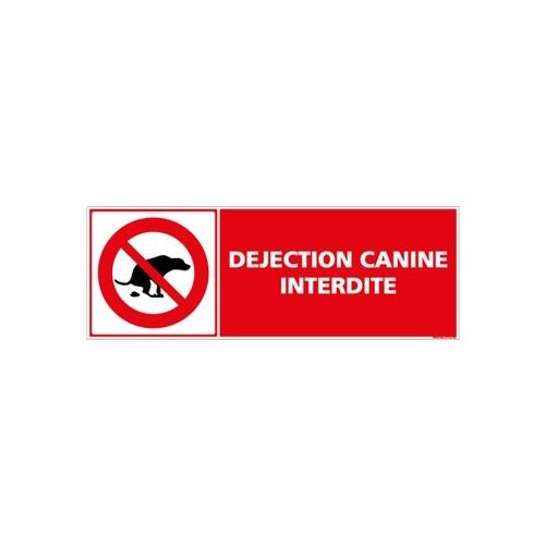 SIGNALETIQUE DEJECTION CANINE INTERDITE - alu - 210 x 75 mm