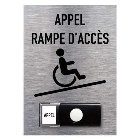 "Karillon Aluminium brossé ""Appel rampe d'accès"" – Accessibilité 150 x 210 mm"
