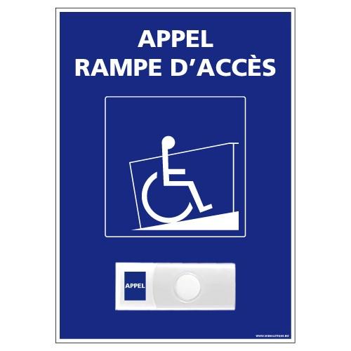 """Carillon PVC """"Appel rampe d'accès"""" – Accessibilité 150 x 210 mm"""