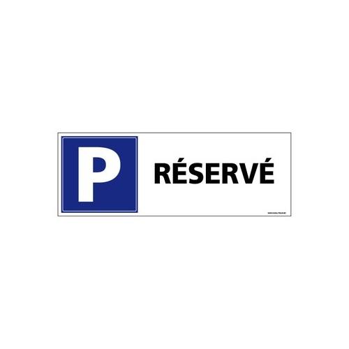Panneau de signalisation parking réservé alu 2 mm 350 x 125 mm