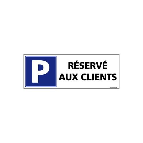 Panneau de signalisation parking réservé aux clients alu 2 mm 350 x 125 mm