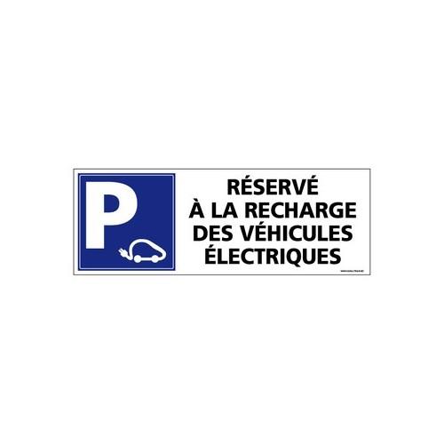 PANNEAU DE SIGNALISATION PARKING RECHARGE VEHICULES ÉLECTRIQUES alu 2 mm 350 x 125 mm