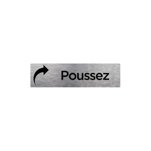 PLAQUE DE PORTE POUSSEZ  alu brossé 2 mm 210 x 75 mm