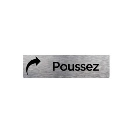 PLAQUE DE PORTE POUSSEZ alu brossé 170 x 50 mm