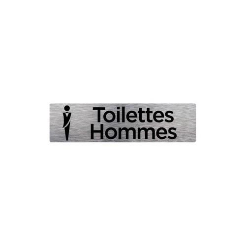 Plaque de porte TOILETTES HOMMES alu brossé  170 x 50 mm