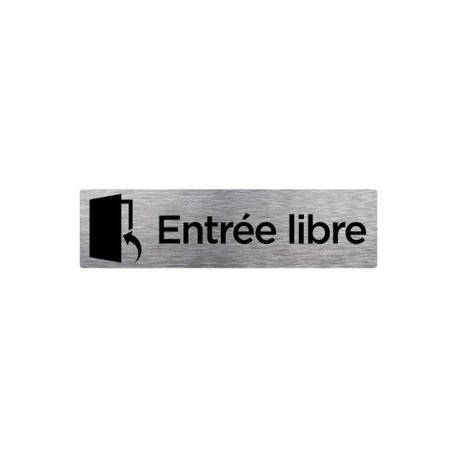 PLAQUE DE PORTE ENTRÉE LIBRE alu brossé 170 x 50 mm