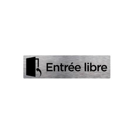 PLAQUE DE PORTE ENTRÉE LIBRE alu brossé 2 mm 210 x 75 mm