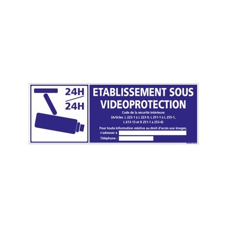établissement sous vidéo-protection - alu - 350 x 125 mm