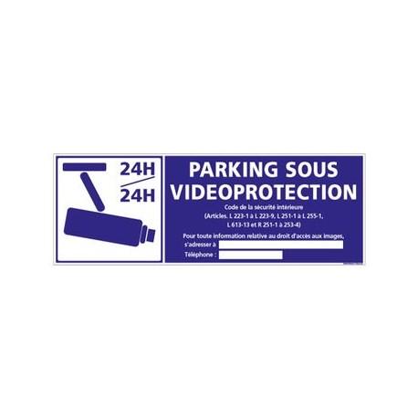 parking sous vidéo-protection - alu - 350 x 125 mm