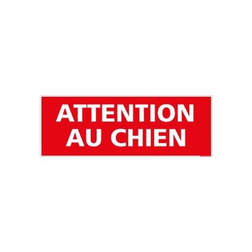 panneau signalétique ATTENTION AU CHIEN - alu - 350 x 125 mm