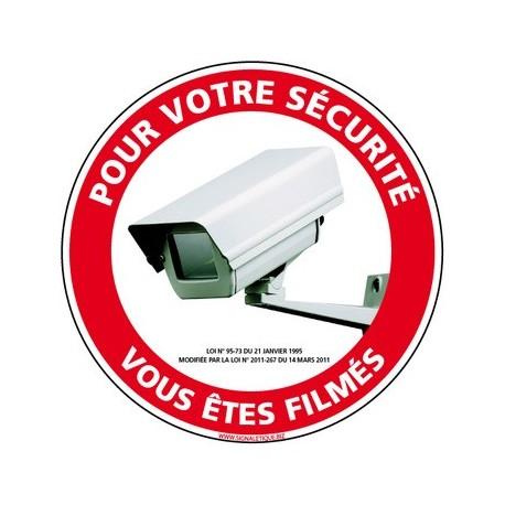 panneau pour votre sécurité vous êtes filmé - alu - 350 mm