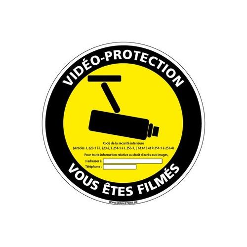panneau vidéo-protection vous êtes filmés - alu - 350 mm