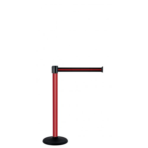 Poteau à sangle 4 m x 50 mm socle portable laqué rouge