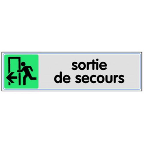 Plaquette Plexiglas Couleur - Sortie de Secours - Pictogramme à gauche