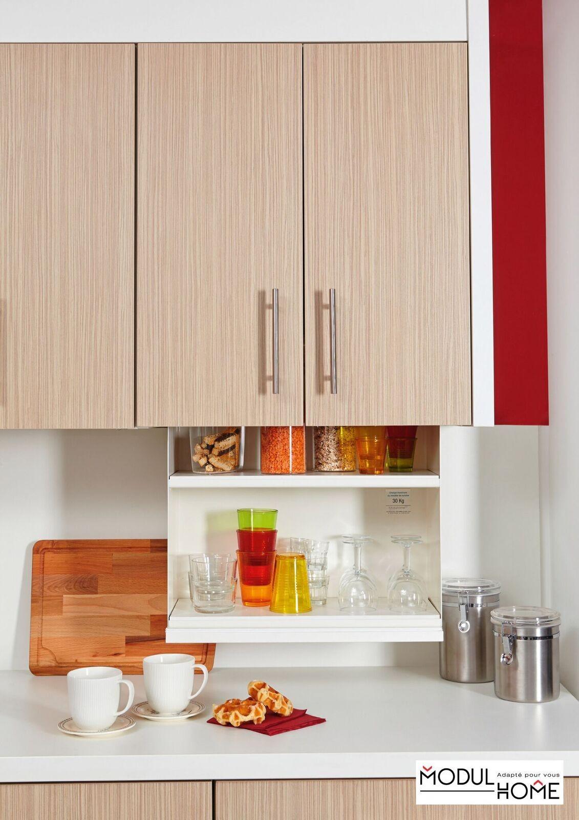 Meuble haut de cuisine avec étagères à hauteur variable