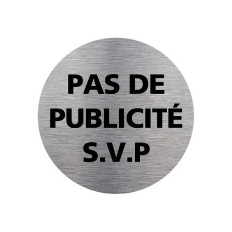 Plaquette de porte ronde PAS DE PUBLICITE SVP