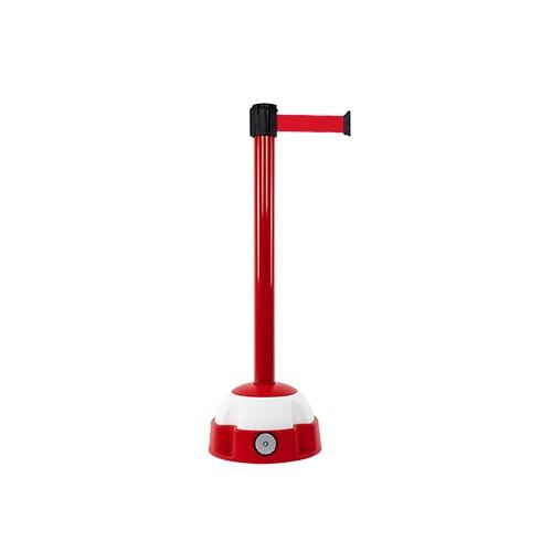 Poteau de guidage 3 m x 50 mm laqué rouge à sangle socle balise