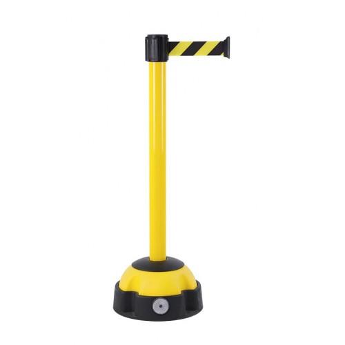 Poteau de guidage 4 m x 50 mm laqué jaune à sangle rayée socle balise