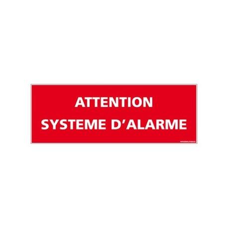 panneau attention système d'alarme - alu - 2 mm - 350 x 125 mm
