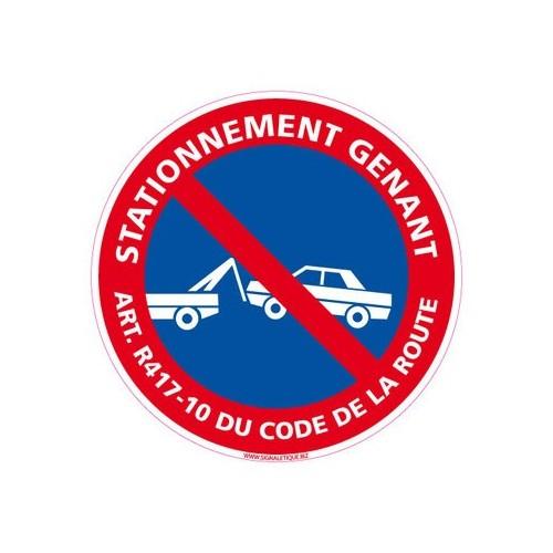 Panneau STATIONNEMENT GENANT ART R 417-10 DU CODE DE LA ROUTE alu 2 mm Diam. 350 mm