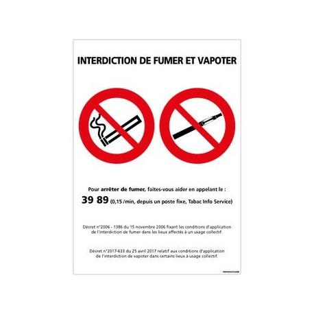 PANNEAU INTERDICTION DE FUMER ET VAPOTER en PVC 150 x 210 mm