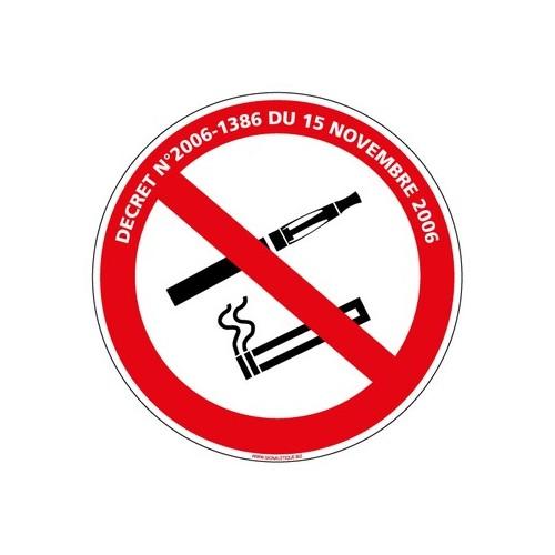 PANNEAU INTERDICTION DE FUMER ET DE VAPOTER AVEC LOI alu 2 mm Diam. 350 mm