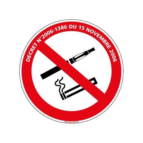 PANNEAU INTERDICTION DE FUMER ET DE VAPOTER AVEC LOI - alu - Diam 350 mm