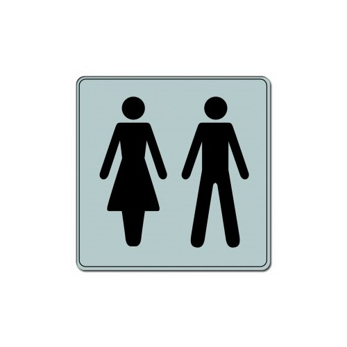 Plaquette Plexiglas Classique Argent - Toilettes - Carré