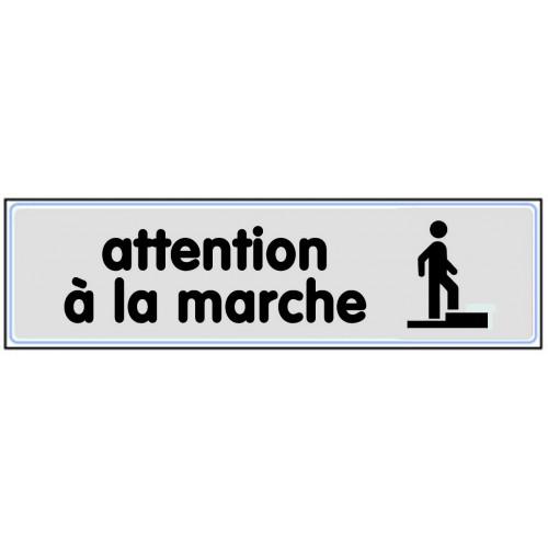 Plaquette plexiglas classique argent - Attention à la marche