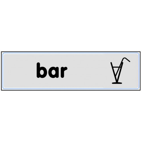Plaquette plexiglas classique argent - Bar