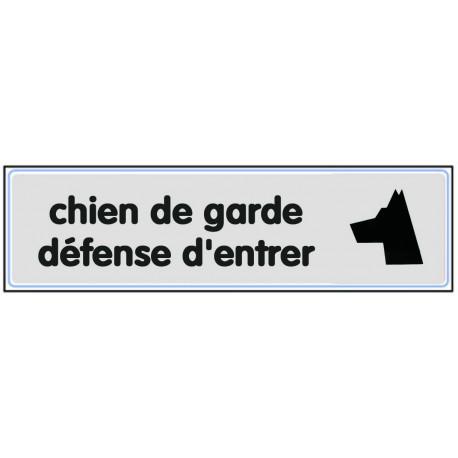 Plaquette plexiglas classique argent - Chien de garde défense d'entrer