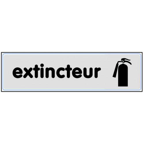 Plaquette Plexiglas Classique Argent - Extincteur - Pictogramme à droite