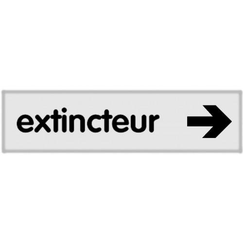 Plaquette Plexiglas Classique Argent - Extincteur - Fléchage à droite