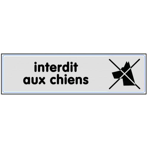 Plaquette Plexiglas Classique Argent - Interdit Aux Chiens - Pictogramme à droite