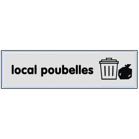 Plaquette plexiglas classique argent - Local poubelles
